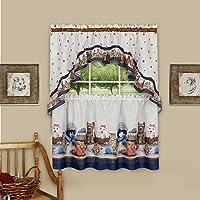 "Achim Home Furnishings Precious Printed Tier and Swag Window Curtain Set, Navy, 57"" x 24"""