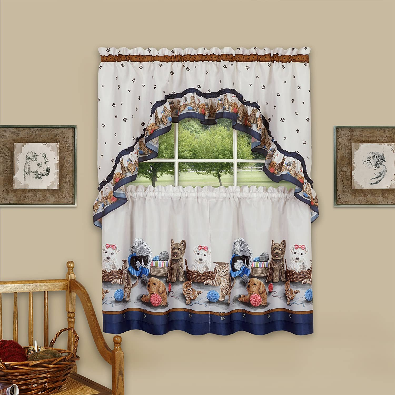 "Achim Home Furnishings Precious Printed Tier and Swag Window Curtain Set 57"" x 36"" Navy"
