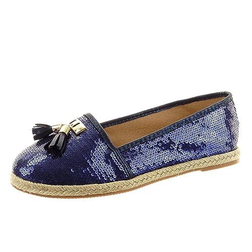 Sopily - Zapatillas de Moda alpargatas Bailarinas slip-on Tobillo mujer strass pompom dorado Talón Tacón ancho 1.5 CM - Azul FRF-14-168-25 T 41: Amazon.es: ...