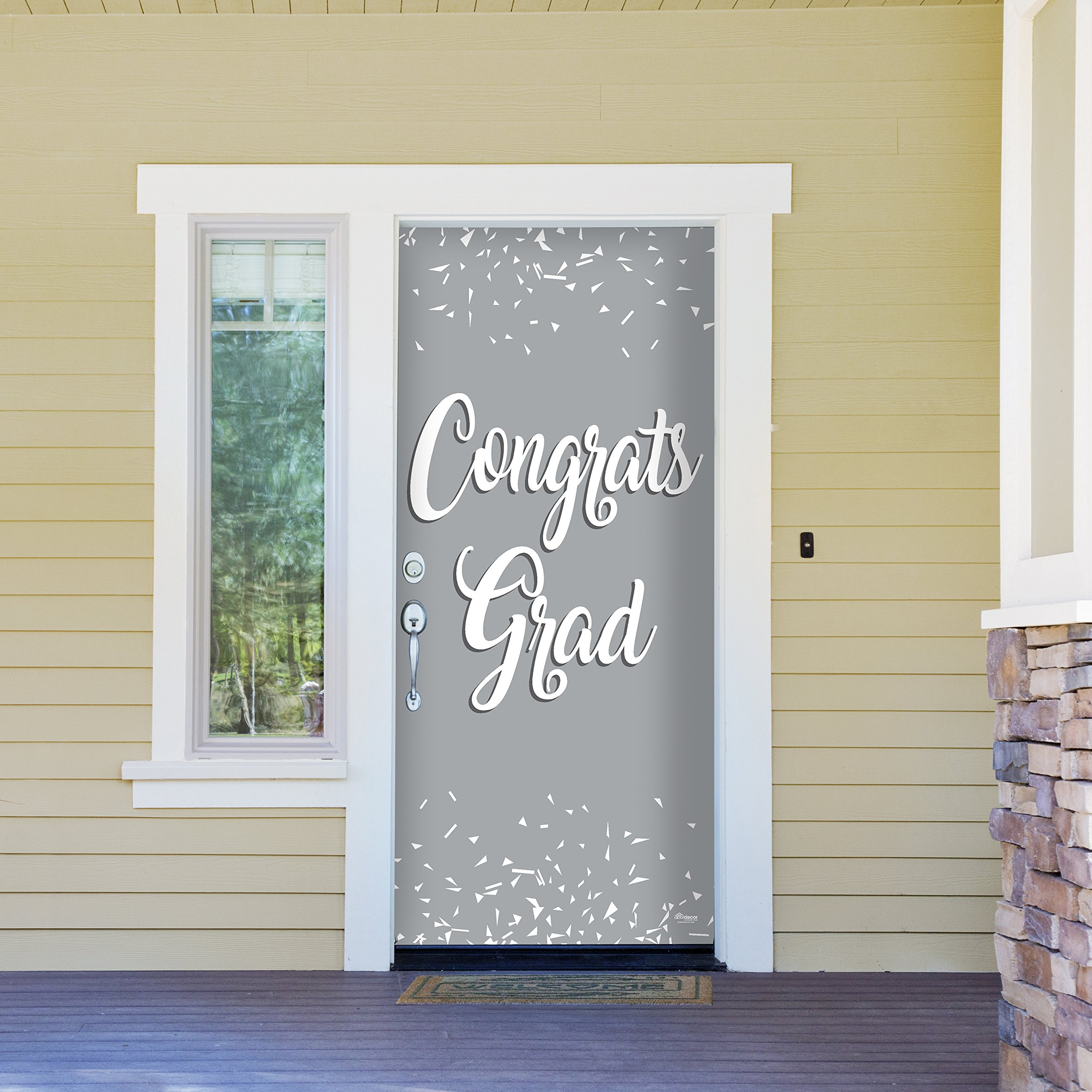 Victory Corps Congrats Grad Grey - Outdoor Graduation Garage Door Banner Mural Sign Décor 36'' x 80'' One Size Fits All Front Door Car Garage - The Original Holiday Front Door Banner Decor
