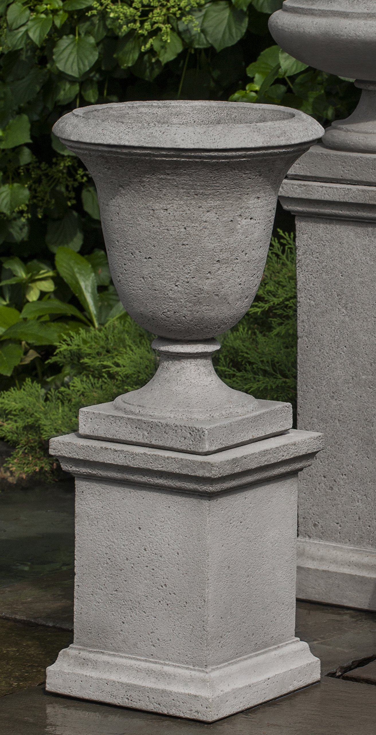 Campania International PPD-600-AS Linwood Urn with Low Wolcott Ped, Alpine Stone Finish