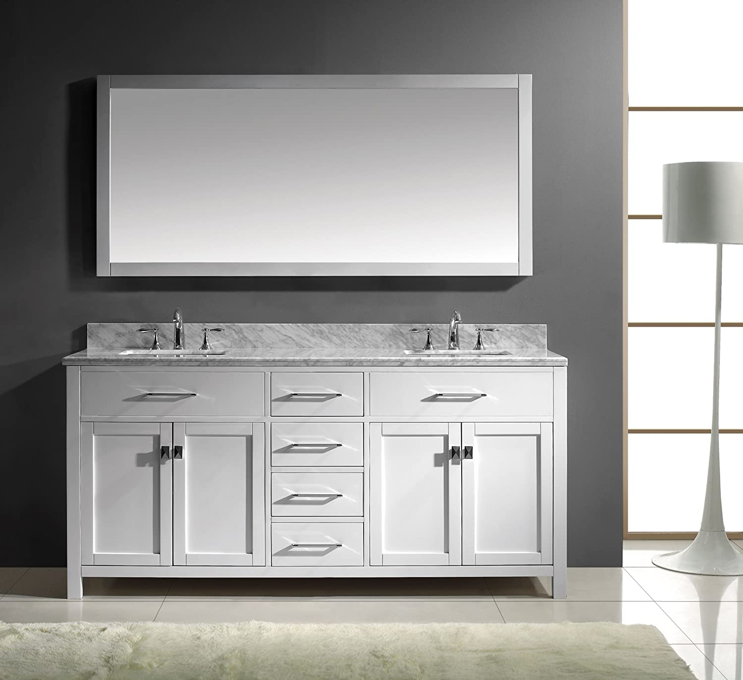 Virtu USA MD 2072 WMSQ WH Caroline 72 Inch Bathroom Vanity with