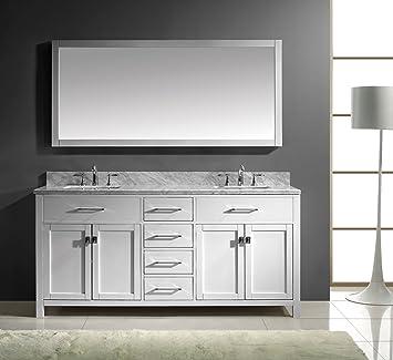 Double Sink Vanity 72 Inch. Virtu USA MD 2072 WMSQ WH Caroline 72 Inch Bathroom Vanity with