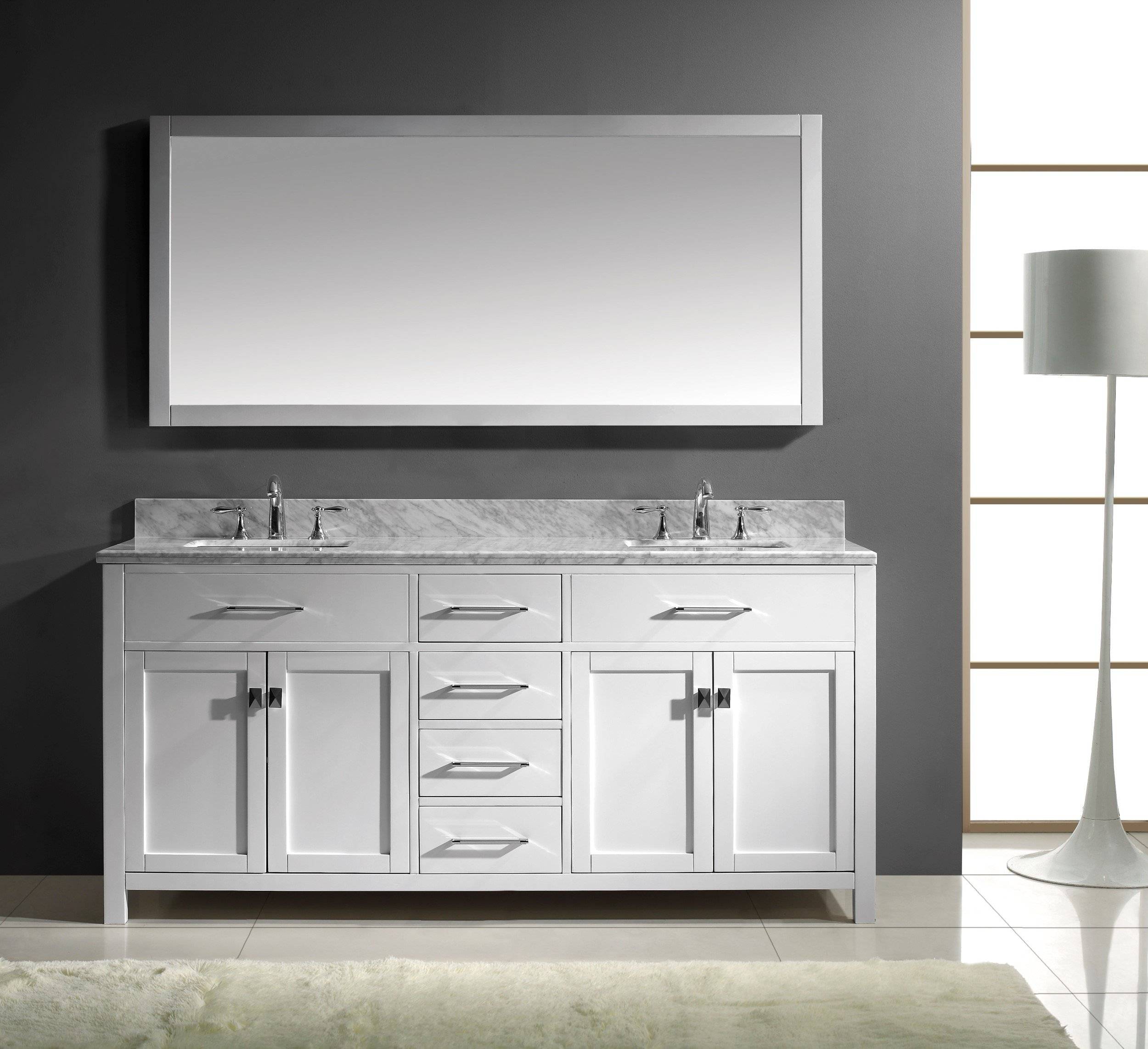 Groovy Details About Virtu Usa Caroline 72 Double Bathroom Vanity Cabinet Set White With Mirror Top Home Interior And Landscaping Ponolsignezvosmurscom