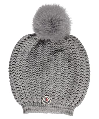 8b1213a447b Moncler Woman s Gray Ribbed Wool Blend Fox Fur Pom-pom Chunky Knit Beanie  Hat at Amazon Women s Clothing store