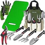 8-Piece Gardening Tool Set-Includes EZ-Cut Pruners, Lightweight Aluminum Hand Tools with Soft Rubber Handles- Trowel, Bamboo