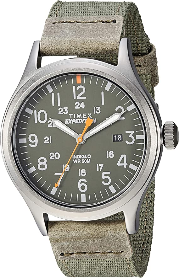 Timex Men's TW4B14000 Expedition Scout 40mm Green/Gray Leather/Nylon Strap Watch