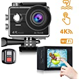 Action Camera 4K Waterproof Camera WIFI Touch Screen Sports Camera Camcorder Underwater Camera helmet Camera HD 16MP Action Camera 170 Wide-View Angle 2 Batteries 23 Mounting Accessory Kits compatible with gopro camera