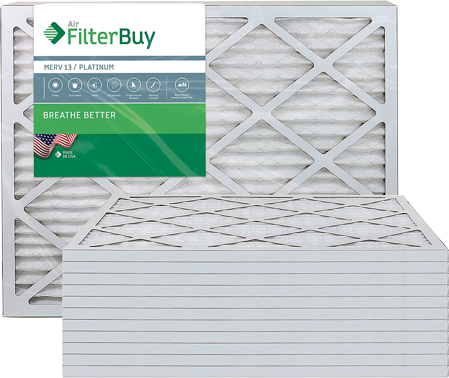 FilterBuy 24x30x1 MERV 13 Pleated AC Furnace Air Filter, (Pack of 12 Filters), 24x30x1 – Platinum