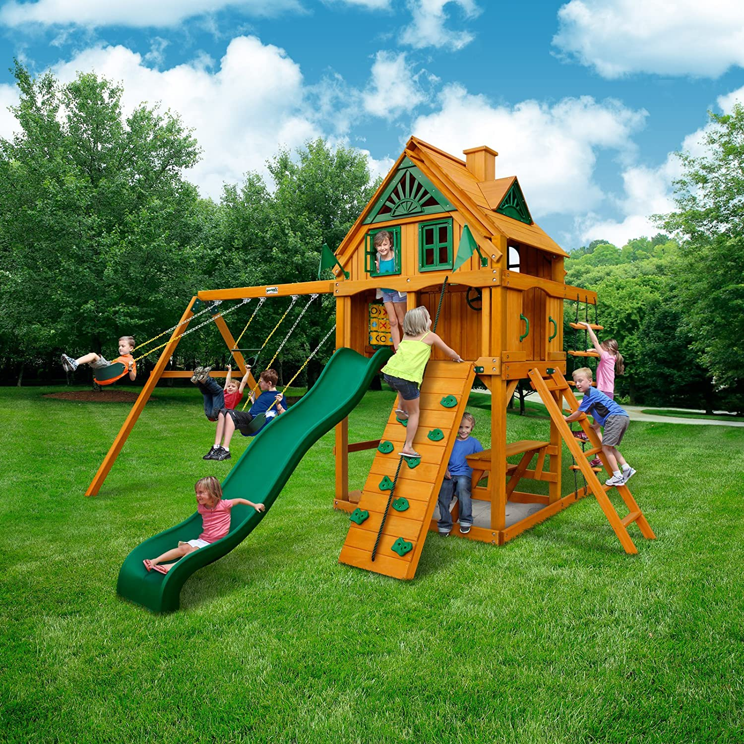 amazon com mountain ridge swing set with timber shield toys u0026 games