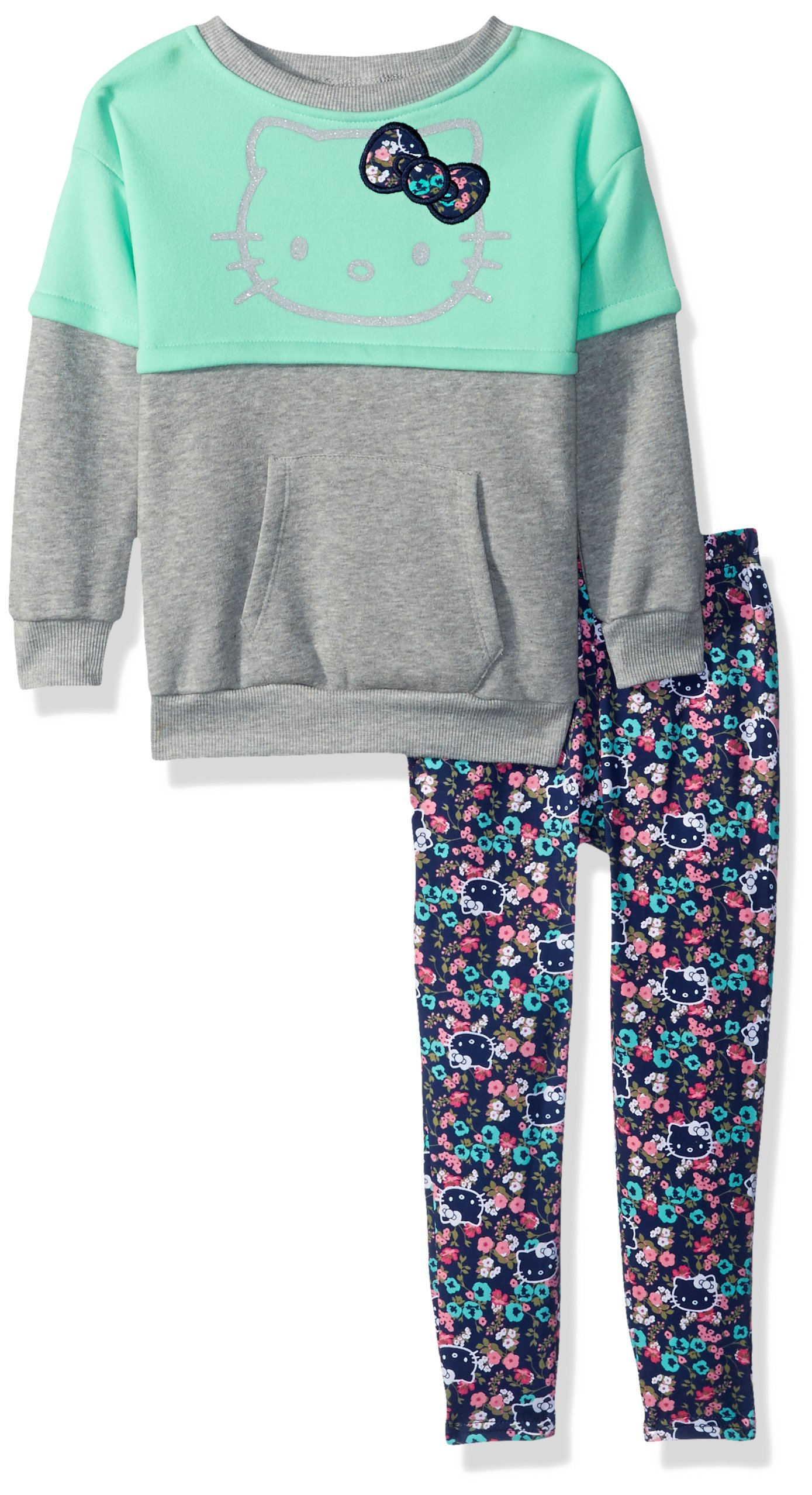 Hello Kitty Toddler Girls' 2 Piece Long Sleeve and Legging Set, Mint Green, 2T