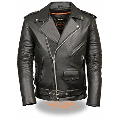 Milwaukee Leather - SH1011-2X-BLACK Men\'s Classic Side Lace Police Style Motorcycle Jacket (Black, XX-Large): Leather King: Automotive [5Bkhe0806574]