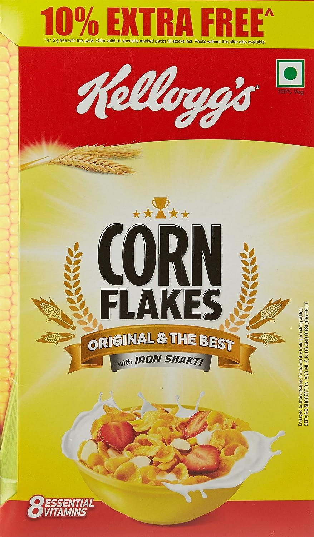 Kellogg's Corn Flakes, 475g with Free Corn Flakes, 47.5g: Amazon