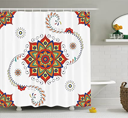 Ambesonne Lotus Shower Curtain Flower With Abstract Modern Style Mandala Influences Symmetric Folk Pattern