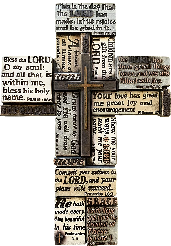 Inspirational Bible Sayings Wall Cross - Jesus Art Wall Decor