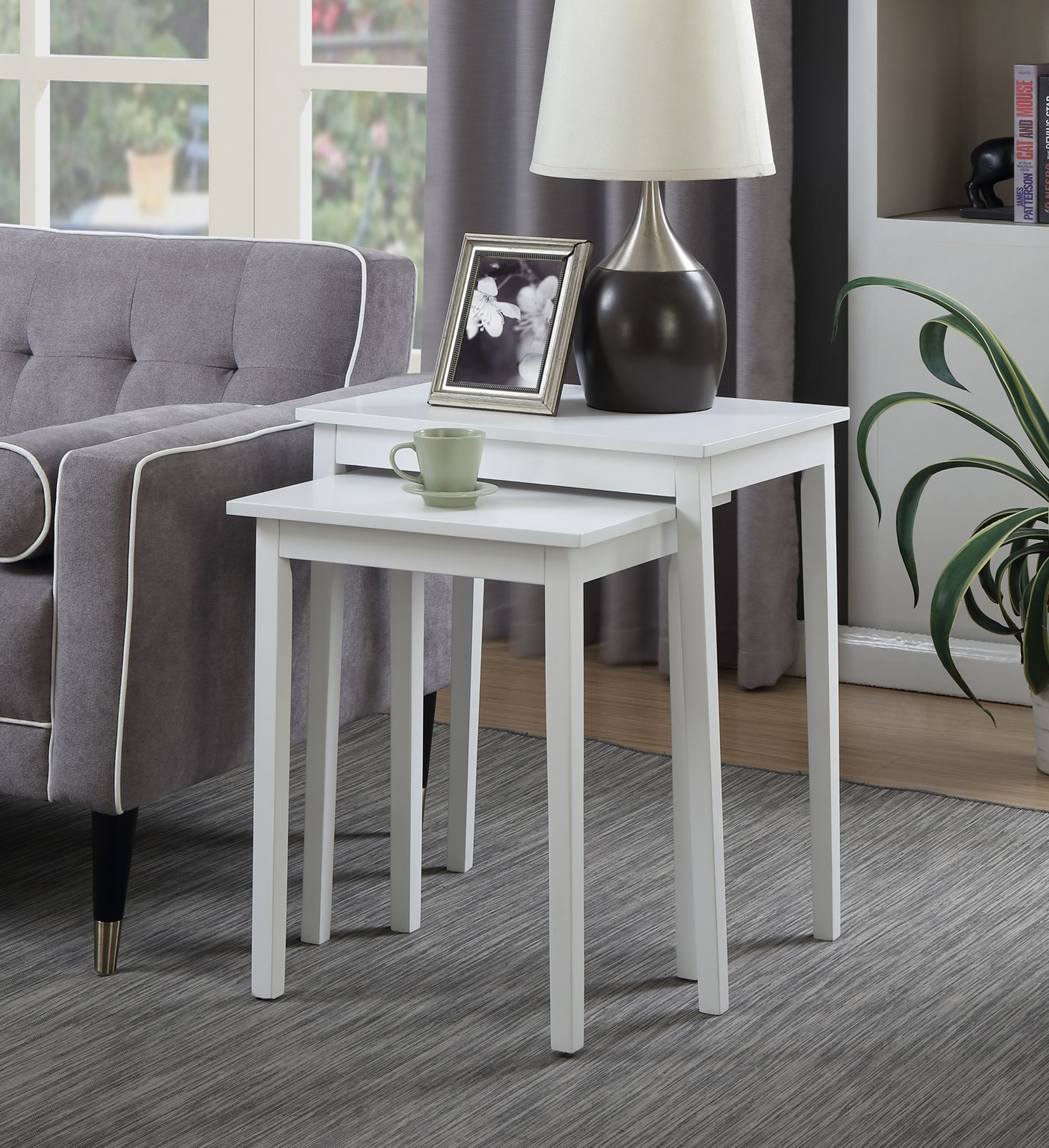 Convenience Concepts American Heritage Nesting End Tables, White by Convenience Concepts