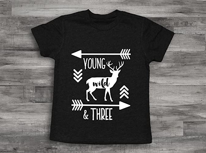 60873c4d5 Amazon.com: Deer Young Wild and Three Birthday Boy Shirt, 3rd bday Shirt, 3rd  Birthday Shirt,Third Birthday Shirt,3rd Birthday Boy, Deer Birthday shirt:  ...