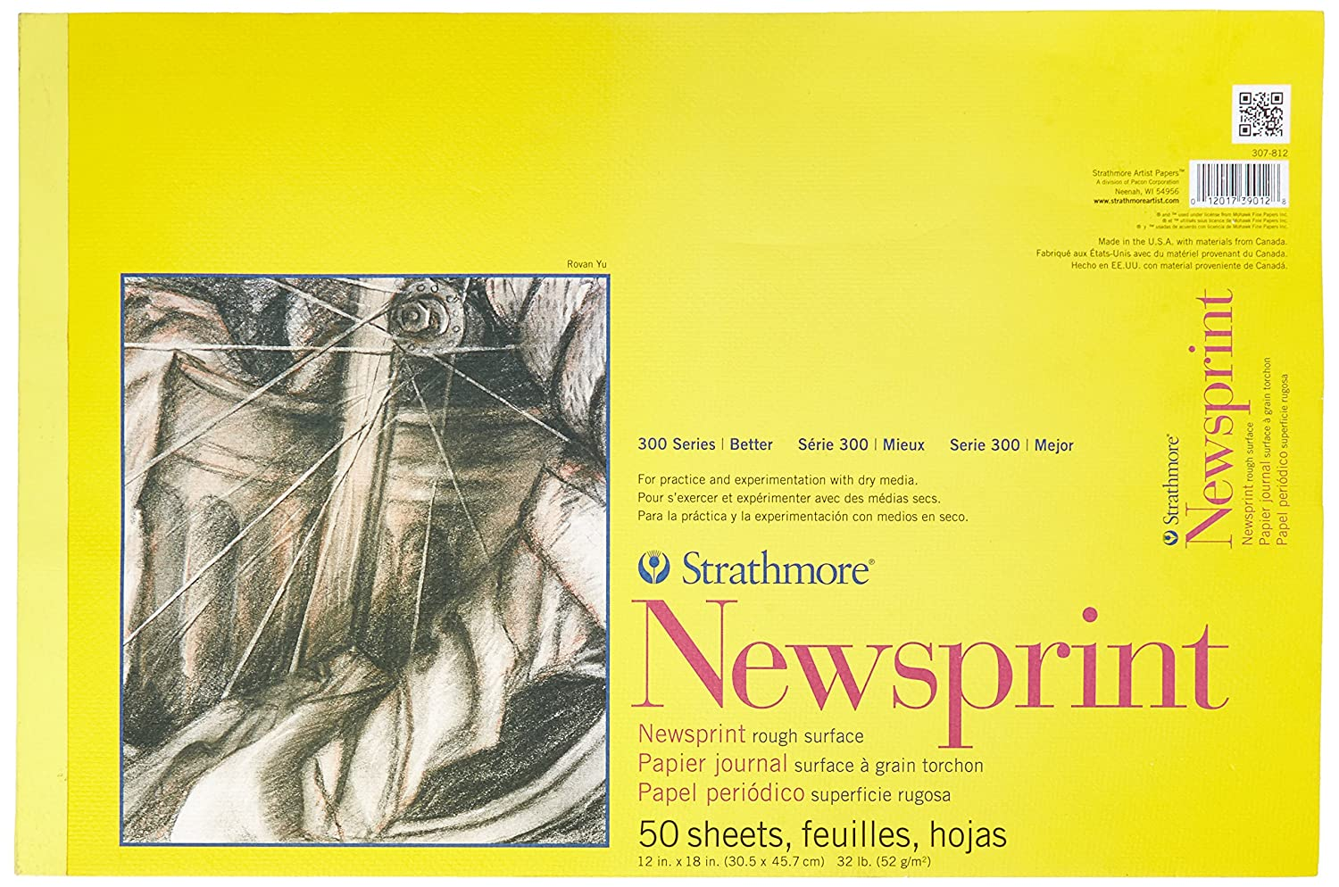Strathmore 307-812 300 Series Newsprint Pad, Rough 12x18 Tape Bound, 50 Sheets Strathmore Paper