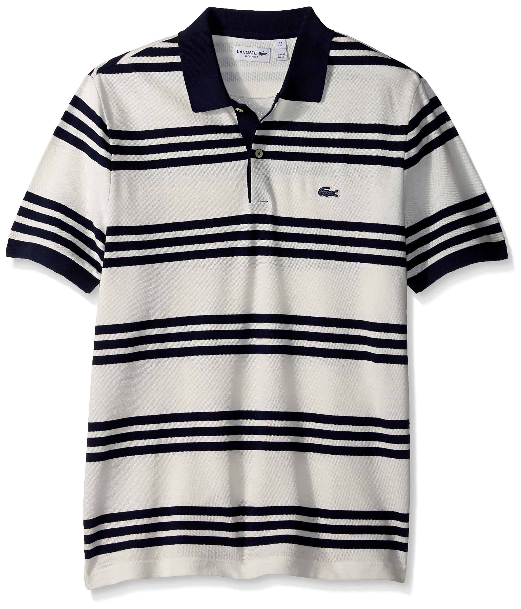 Lacoste Men's Father's Day Linen/Cotton Stripe Birds Eye Pique Polo-PH2072, Flour/Flour/Navy Blue, 6