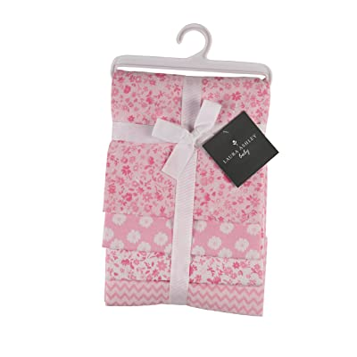 Laura Ashley 4 Piece Laddered Receiving Blankets, Floral Print