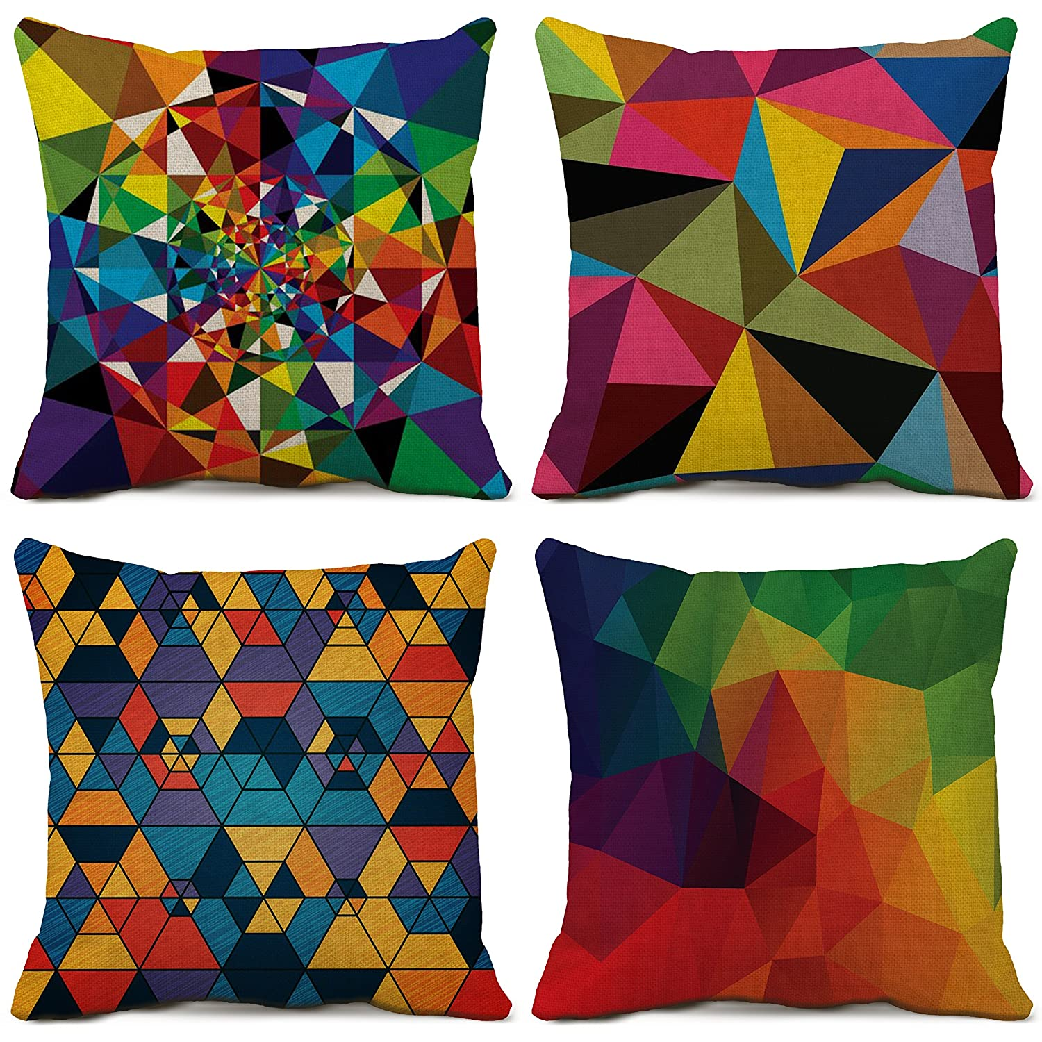 Amazon Com Colorful Geometry Decorative Throw Pillow Covers Cotton