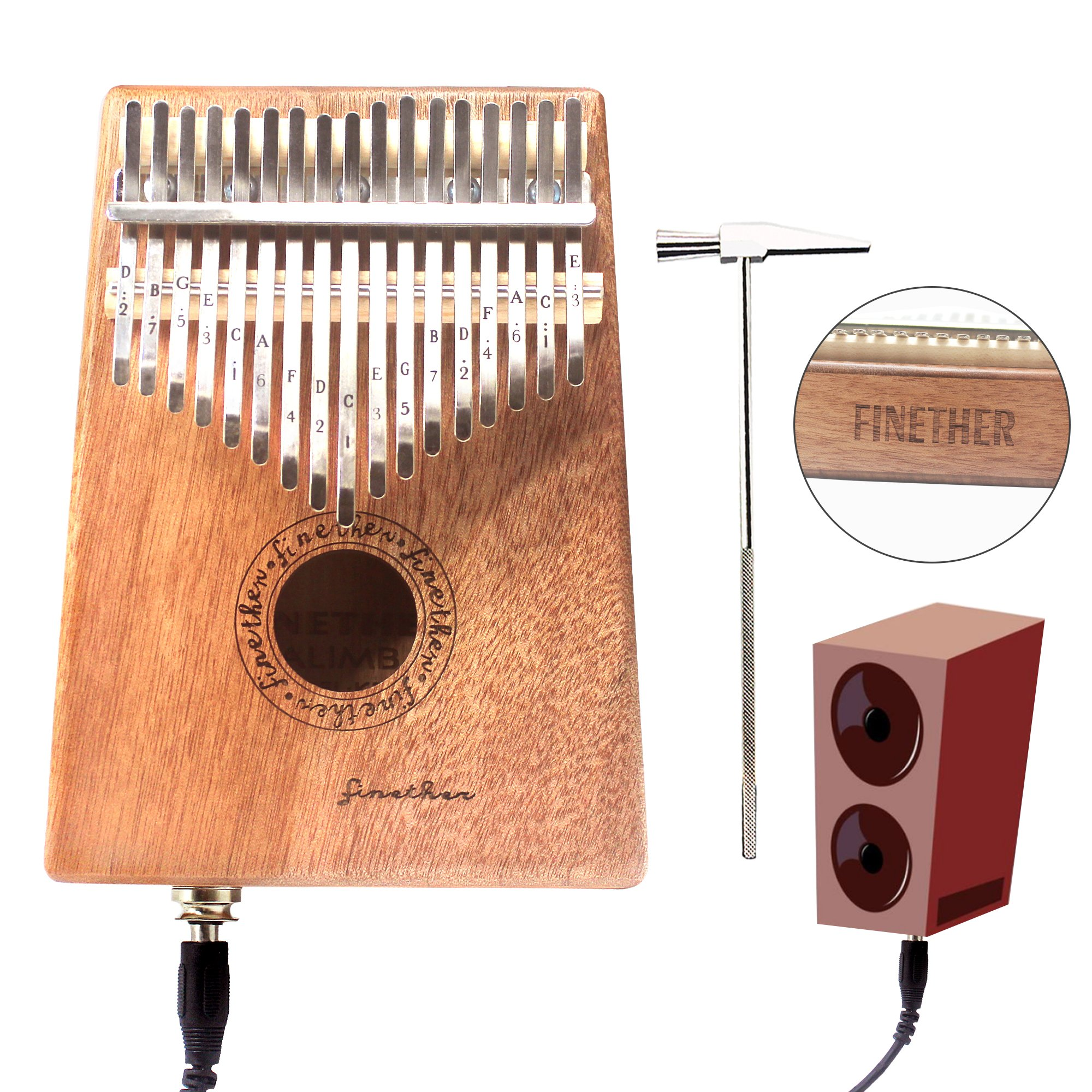 17 Keys Mahogany Kalimba Thumb Piano Wood Mbira Sanza Finger Percussion Pocket Keyboard w/Calibrating Tune Hammer for Beginners and Children (Mahogany with pick up jack)