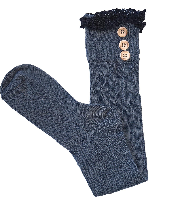 6a20afc1650 Mujeres rodilla calcetines altos con el cordó n de algodó n y botones  abiertas calcetines de punto ...
