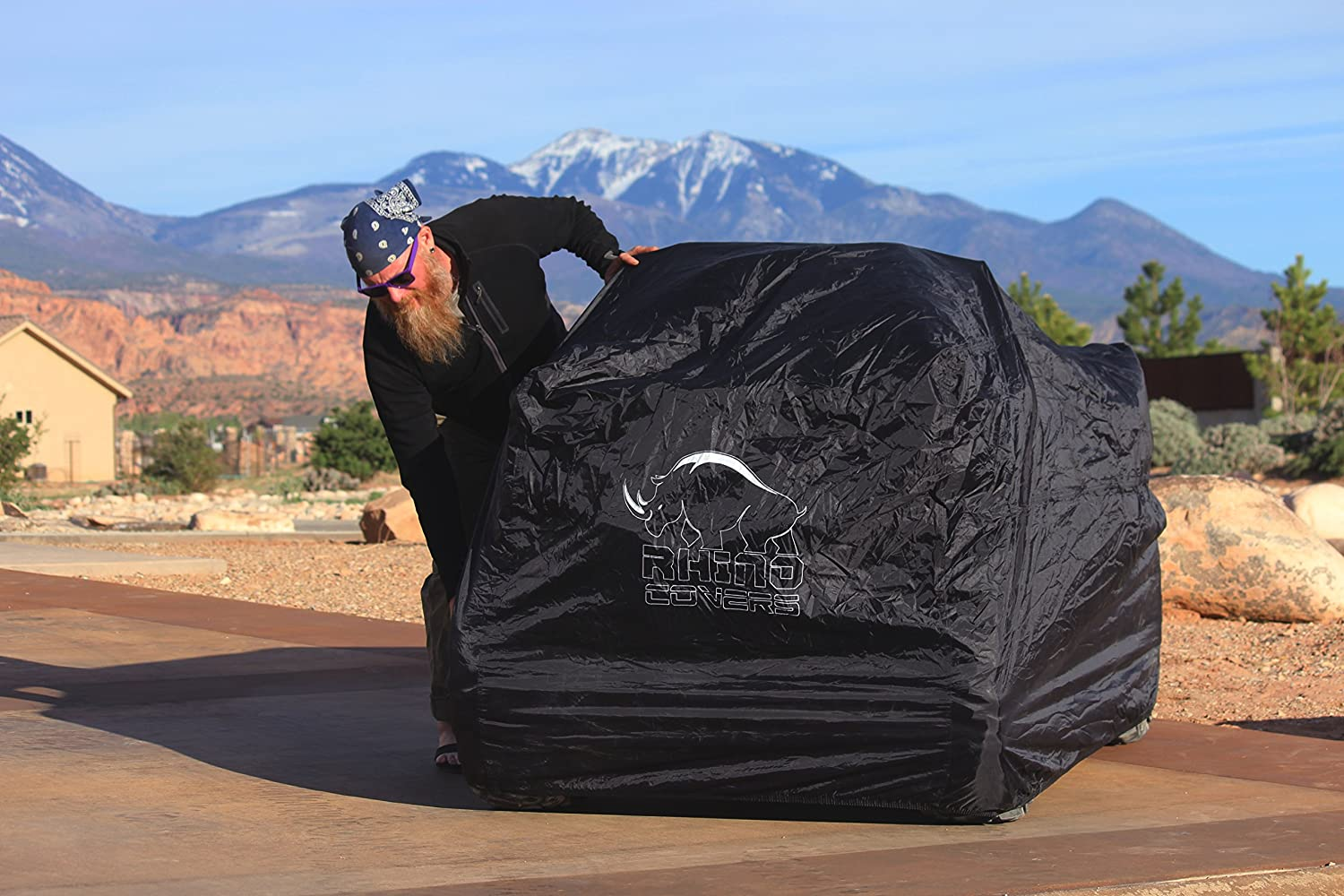 too WATERPROOF WINDPROOF 190T TAPED seams with WIND STRAPS Rhino 4 wheeler ATV Cover Works as LAWNMOWER cover See list of Quads for sizing in description Size LARGE