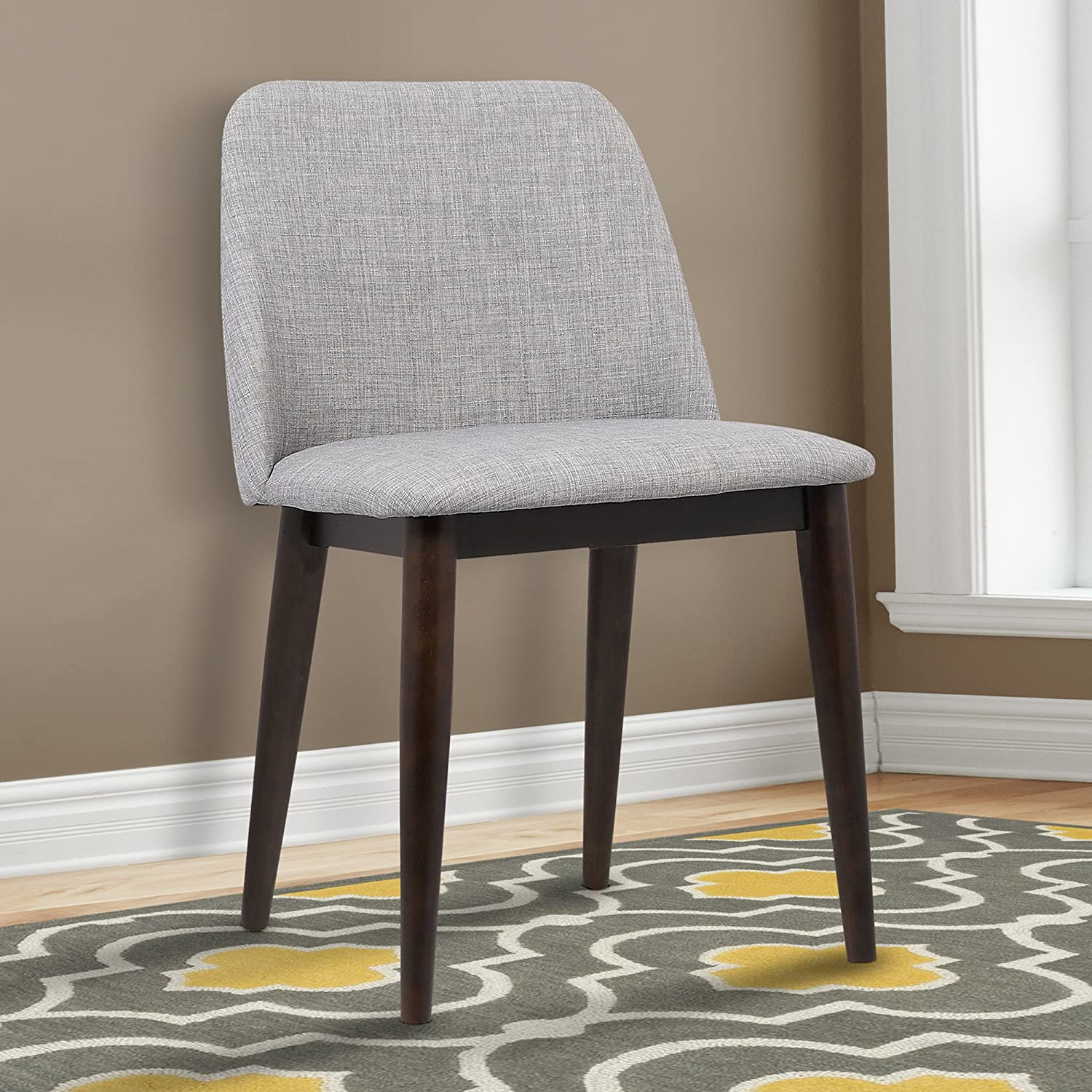 Armen Living LCHOCHGRAY Horizon Dining Chair Set of 2 in Light Grey Fabric and Brown Wood Finish