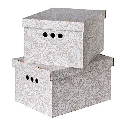 Pack of 2 Decorative Storage Boxes With Lids Home Office Bedroom Wardrobe  Box Organiser Archive Box with Lid Bankers Box Multi-Use General Storage ...