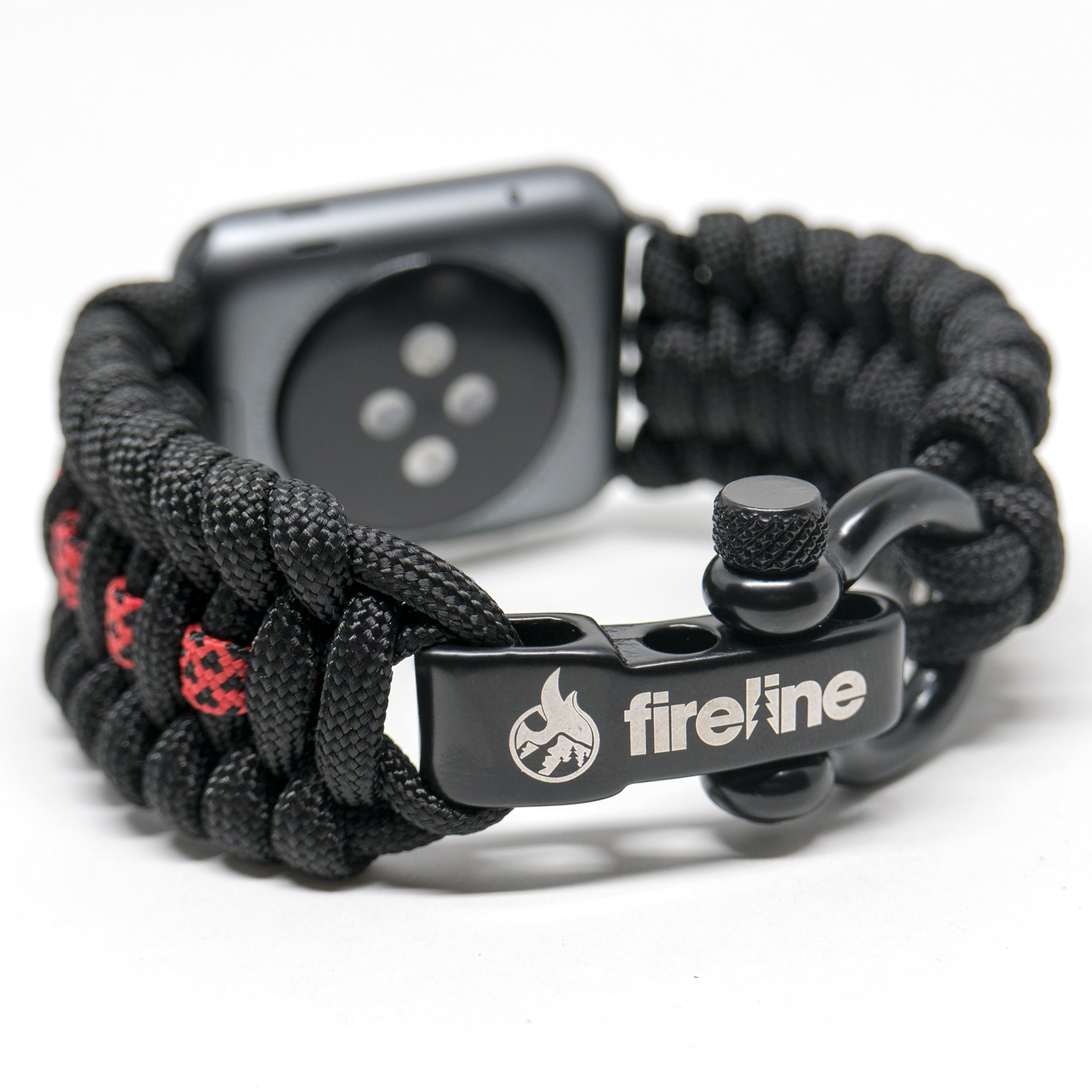 FireLine Paracord Watch Band for 42mm and 44mm Apple Watch, Replacement Strap with Rugged Outdoor Survival Stainless Steel Shackle and 550 Paracord - Thin Red Line (Large)