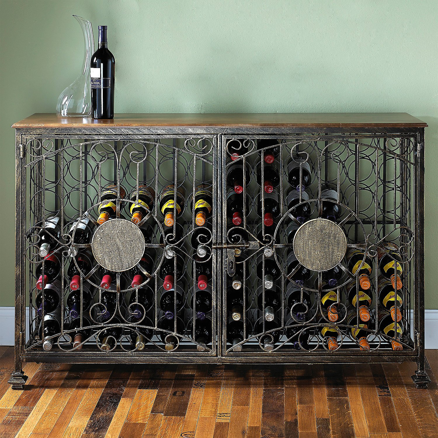 Wine Enthusiast 84 Bottle Antiqued Steel Wine Jail Console, Bronze by Wine Enthusiast