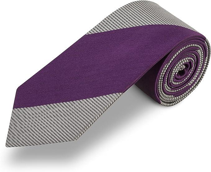 Corbata gris a rayas lila. 100% seda: Amazon.es: Ropa y accesorios