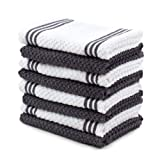 Sticky Toffee Cotton Terry Kitchen Dishcloth, Gray, 8 Pack, 12 in x 12 in