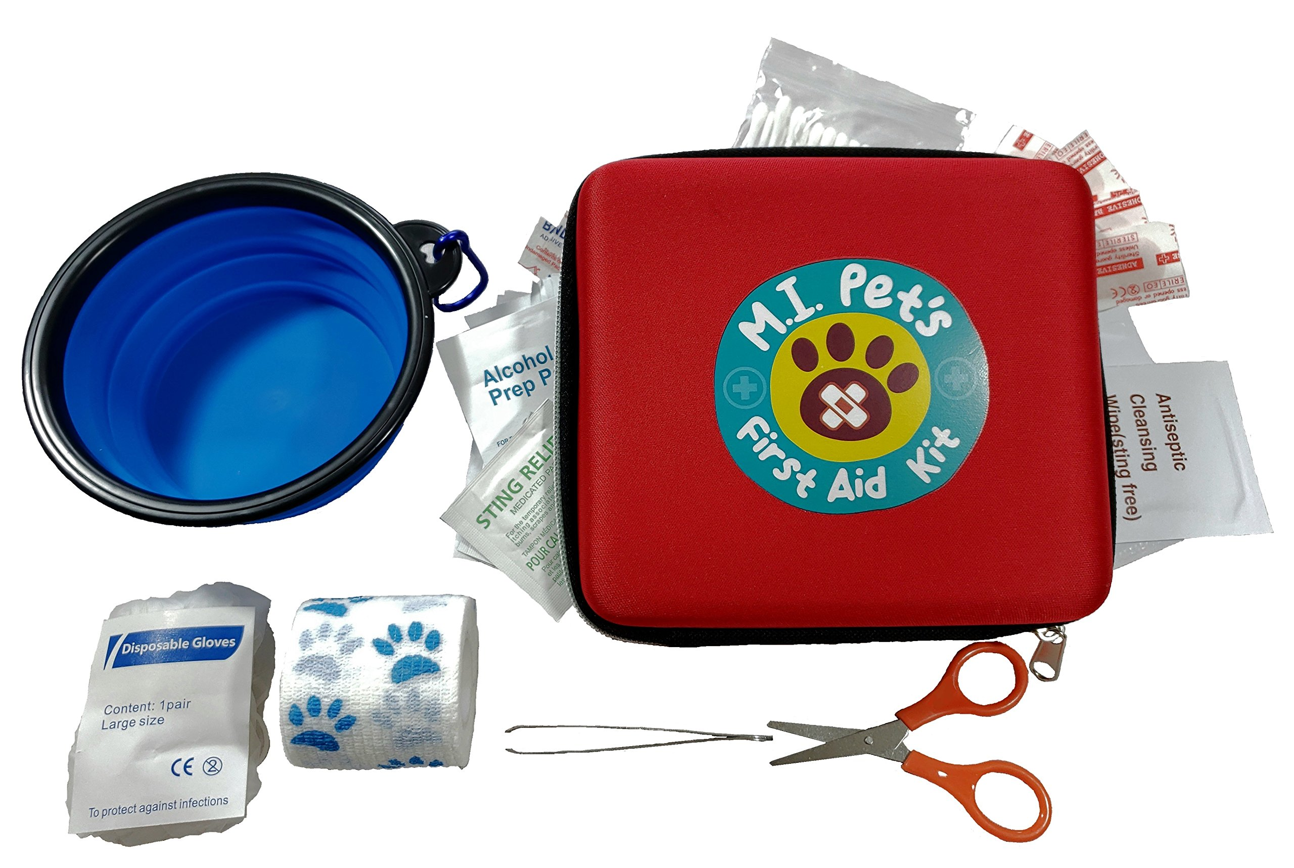M.I. Pet's - 76 Piece Pet First Aid Kit with a Collapsible Food or Water Bowl by M.I. Pets