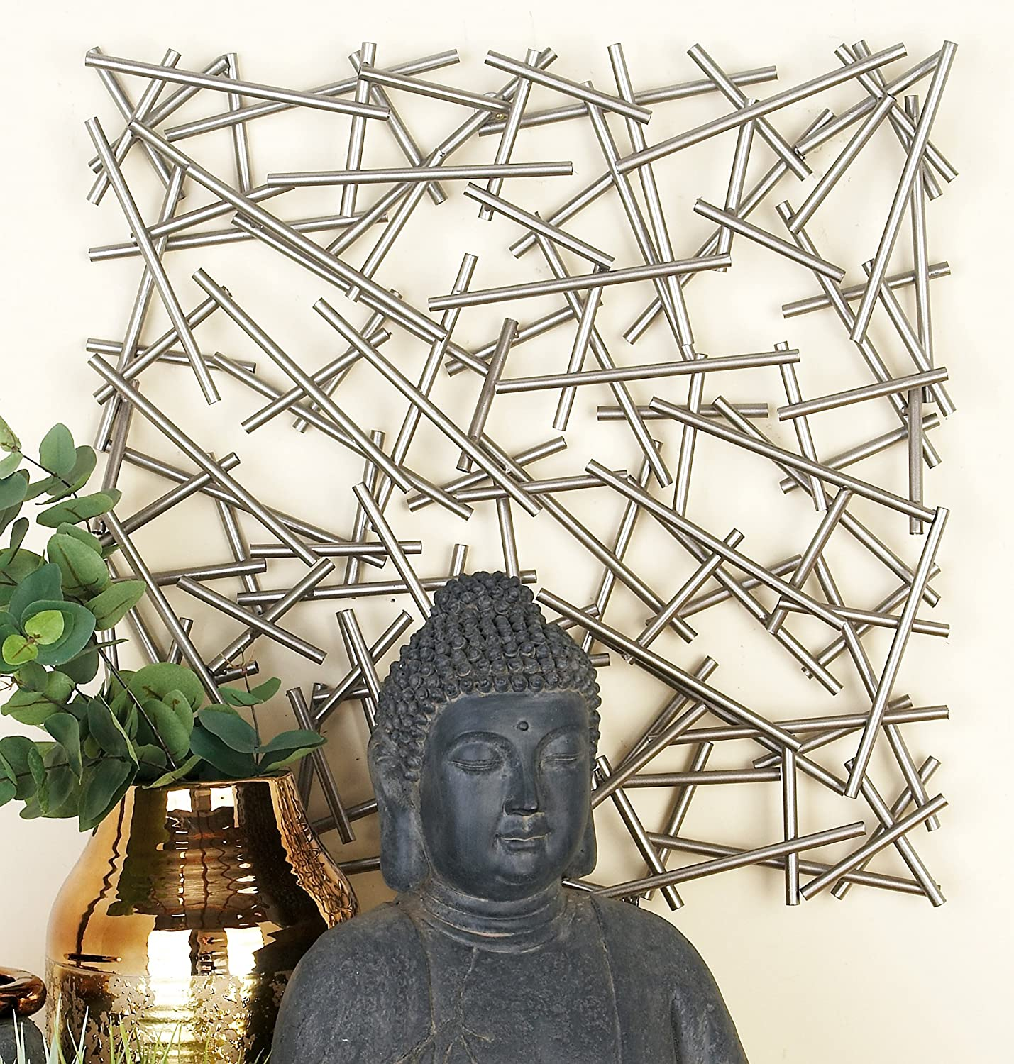 """CosmoLiving by Cosmopolitan 56924 Large Square Contemporary Silver Abstract Art Metal Wall Decor 20/"""" x 20/"""""""