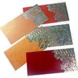 "PARTH IMPEX Shagun Gift Envelope for Cash (Pack of 50) 7.5"" x 3.5"" Peacock Feather Gold Silver Foil Stamping Assorted…"