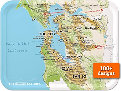 Amazon Com Trays4us San Francisco Bay Area Humorous 16x12 Inches Large Map Serving Tray 70 Different Designs Serving Trays Guide to area and transit in downtown san francisco. trays4us san francisco bay area humorous 16x12 inches large map serving tray 70 different designs