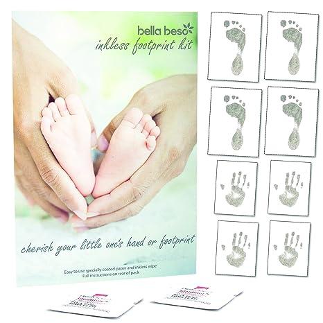 Juego de 8 hojas y 2 toallitas para impresión de manos y de pies de bebé