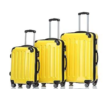 Beibye - Juego de 3 maletas de viaje rígidas con ruedas., amarillo (Amarillo) - 2048: Amazon.es: Deportes y aire libre