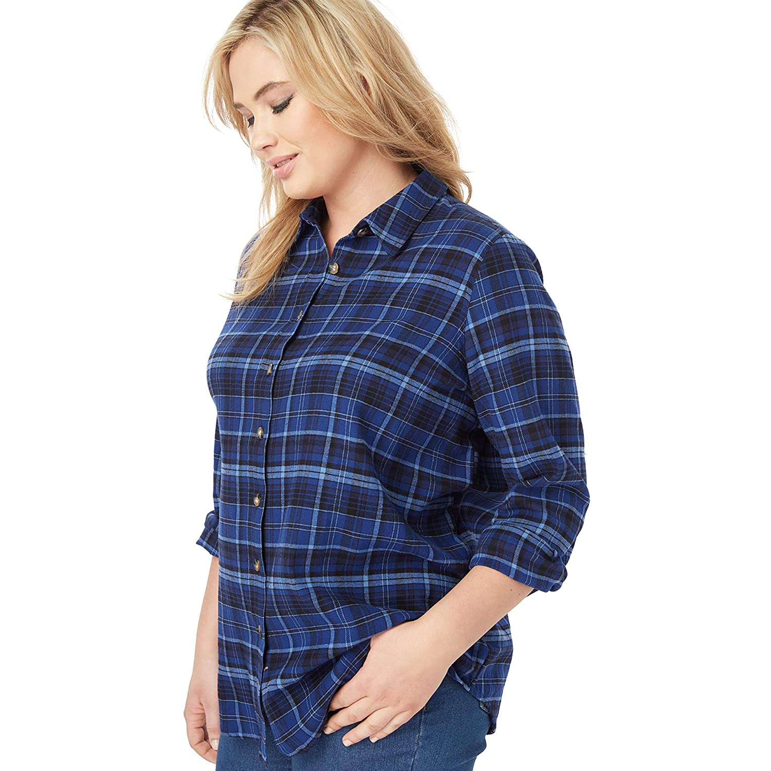 710df81ec0b05 Woman Within Women's Plus Size Classic Flannel Shirt