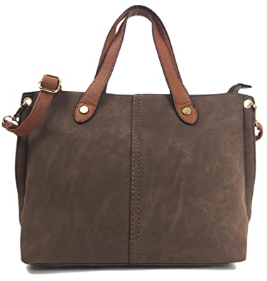 544663a8b3b Mia Handbags for Ladies Beautiful Italian Styled Medium Size Shoulder Grab  Bag. (Brown