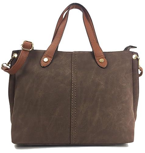 a8f111783685 Mia Handbags for Ladies Beautiful Italian Styled Medium Size Shoulder Grab  Bag. (Brown