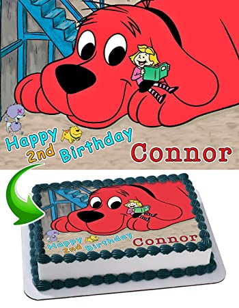 Clifford The Big Red Dog Edible Cake Image Personalized Birthday