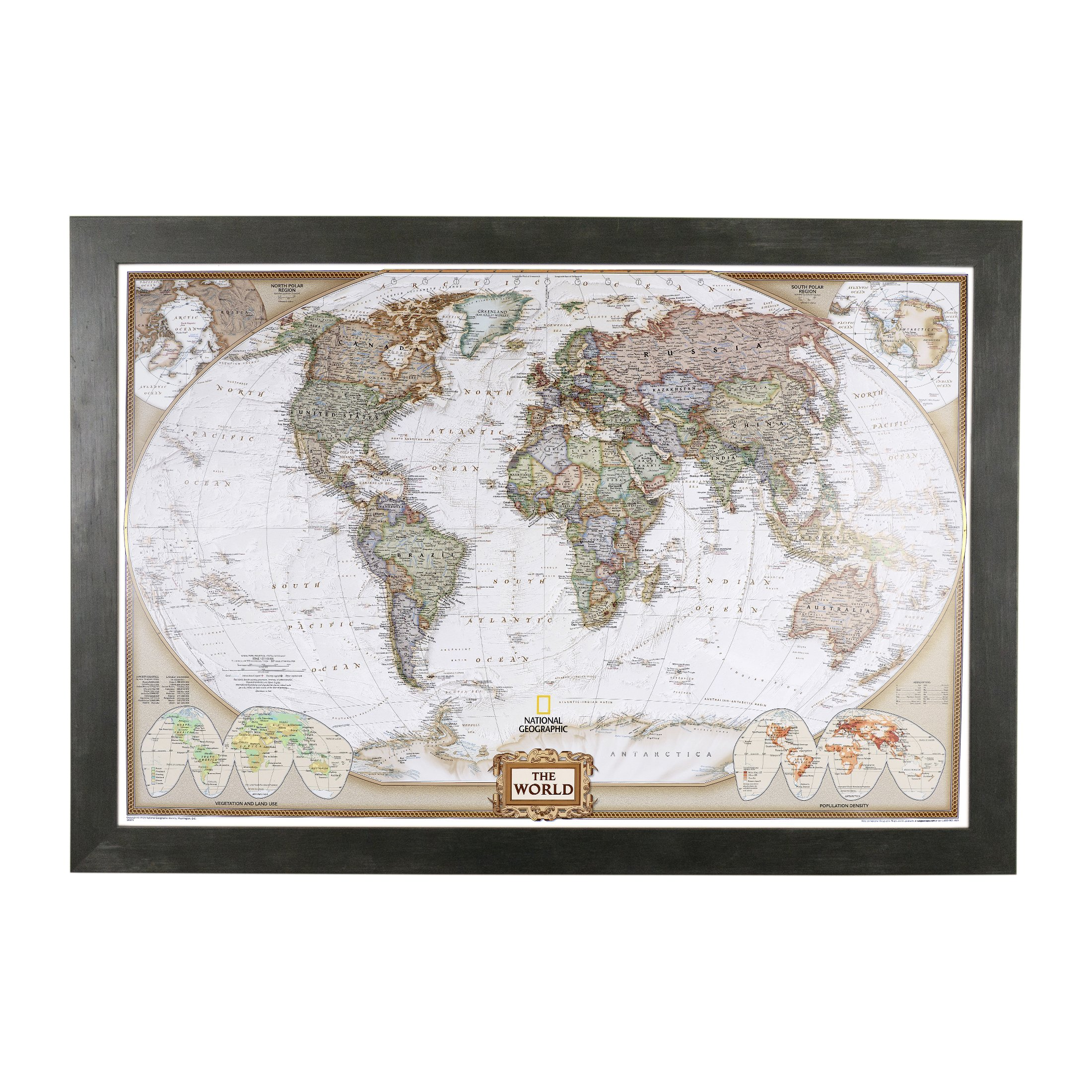 Executive World Push Pin Travel Map with Rustic Black Frame and Pins 24 x 36 by Push Pin Travel Maps