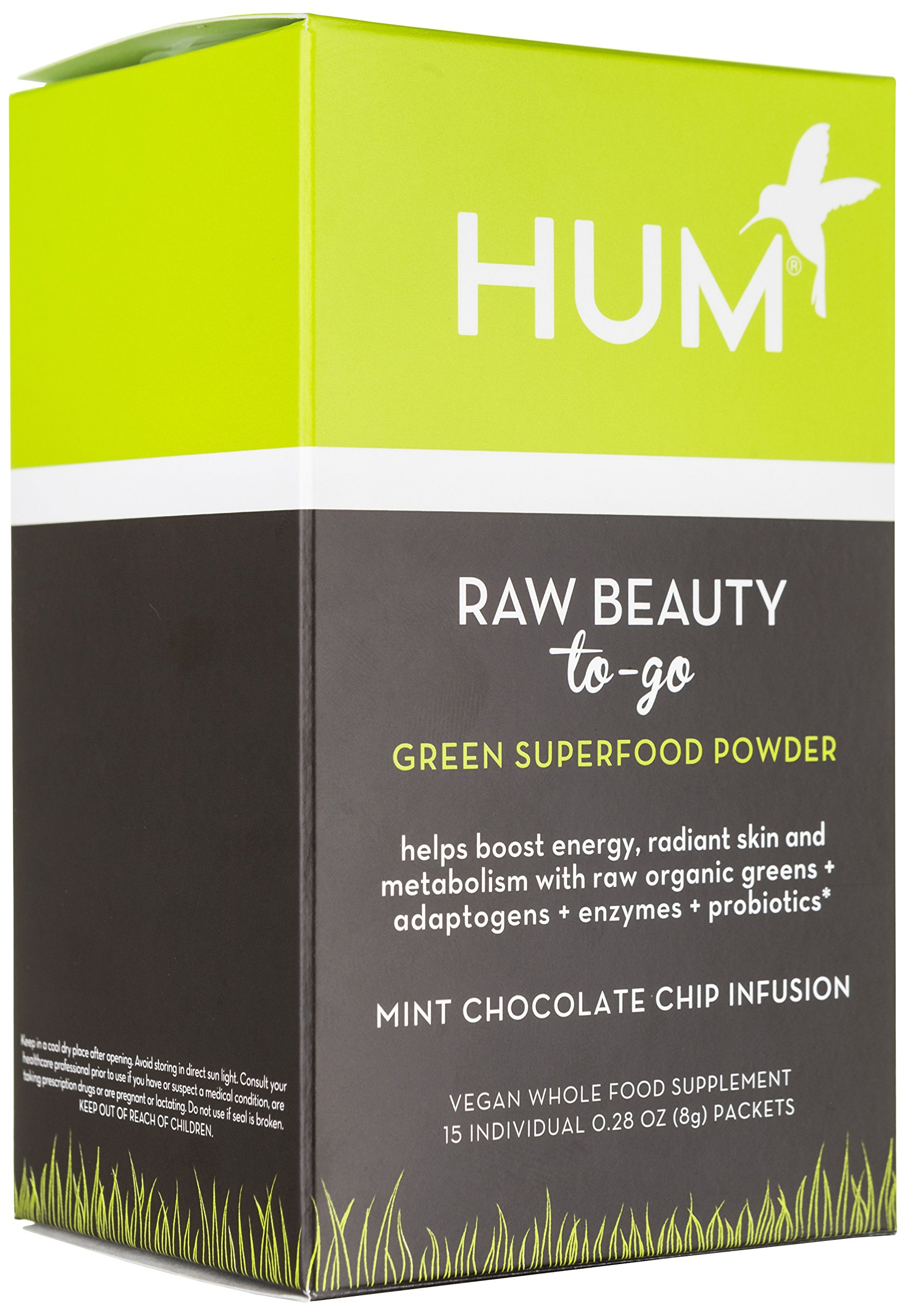 Hum Nutrition Raw Beauty To-Go Green Superfood Powder, 15 Packets