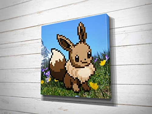 Amazon Com Pokemon Eevee Pixel Art Canvas Print Handmade