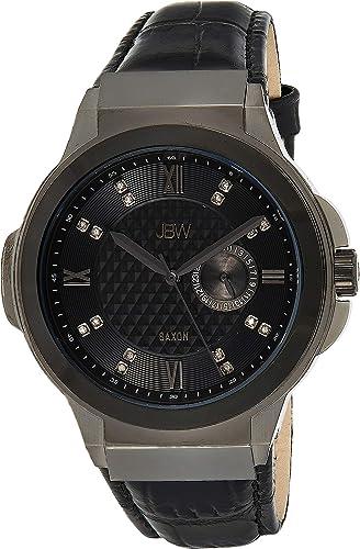 JBW Luxury Men's Saxon 48 J6373 0.16 ctw 16 Diamond Wrist Watch with Genuine Croc Leather Strap, 47.5mm