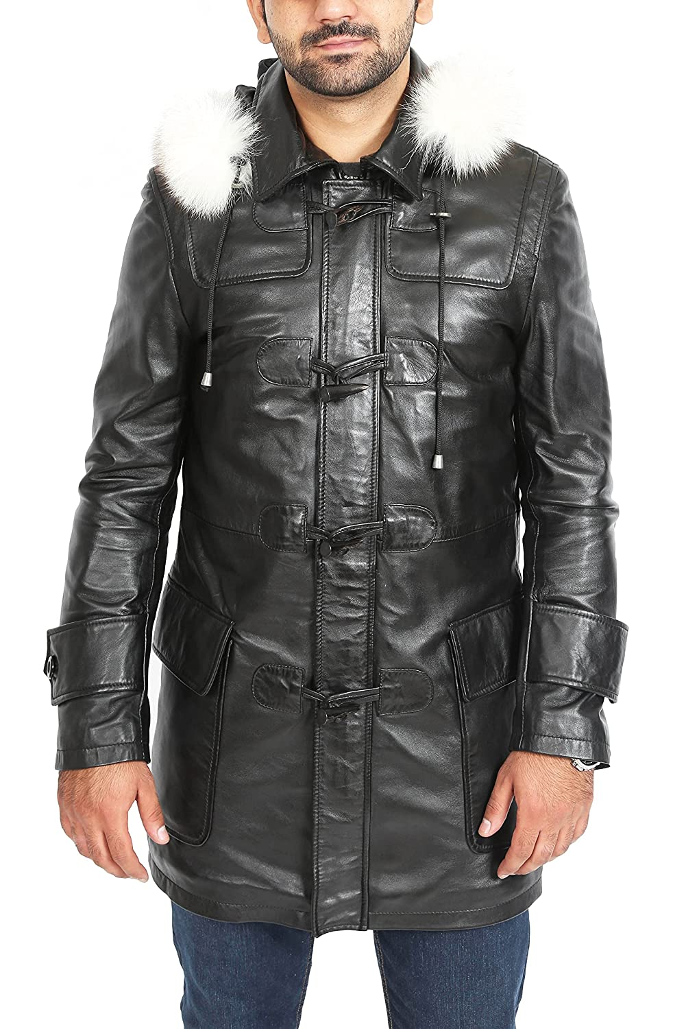 5967a7271ff Top1: Mens Genuine Black Leather Duffle Coat 3/4 Long Hooded Lambskin Parka  Jacket – Max