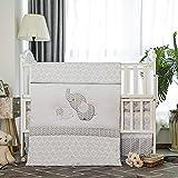 La Premura Baby Elephants Nursery Crib Bedding Sets – Gray Elephants & Puppy 3 Piece Standard Size Grey Crib Set…